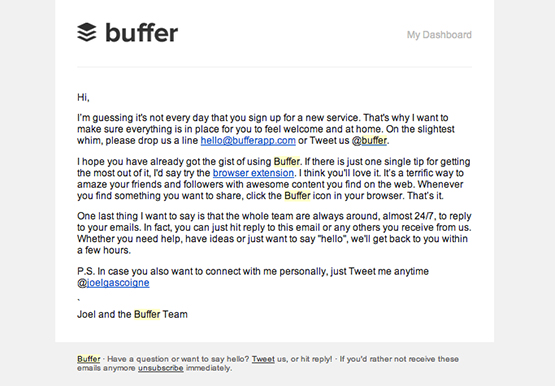 Buffer's welcome email