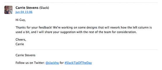 An email from Slack