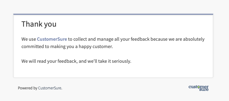feedback form thank you message Set up a thank you page  CustomerSure